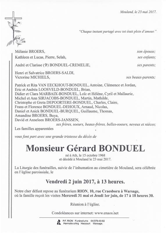 Dcs De Monsieur Grard BONDUEL 23 05 2017 Fr BE Annonce