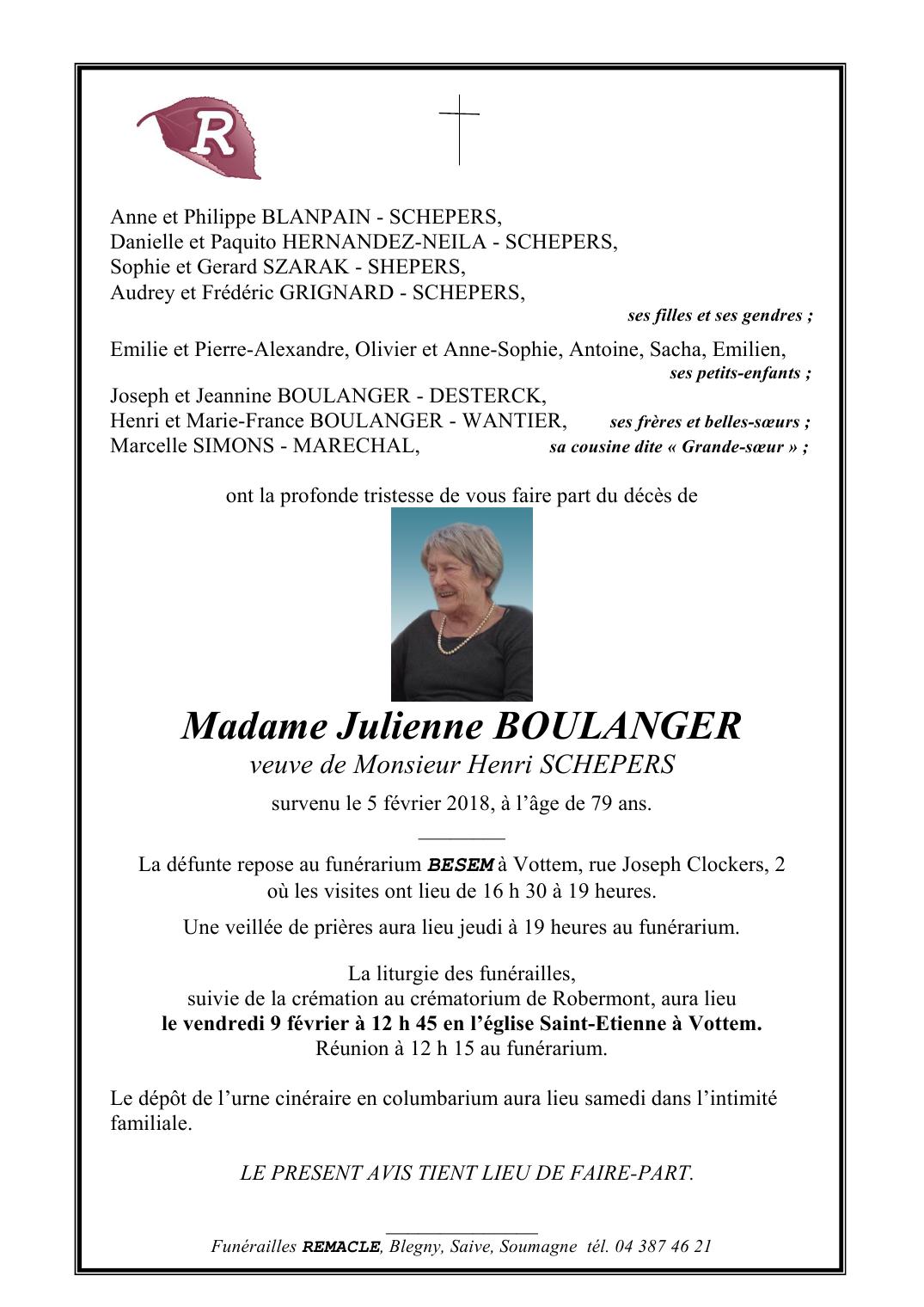 Deces De Madame Julienne BOULANGER 5 02 2018 Fr BE Annonce