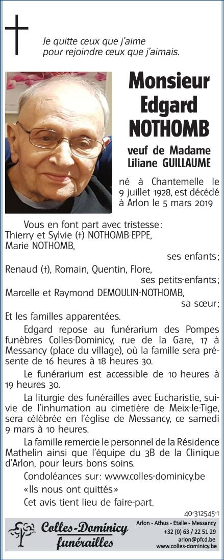 Deces De Monsieur Edgard NOTHOMB 5 03 2019 Fr BE Annonce